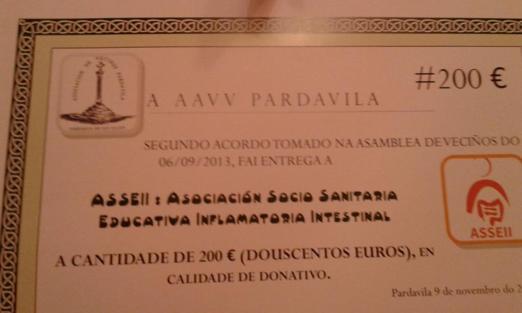 Certificado de Donación entregado por la AAVV Pardavila a ASSEII